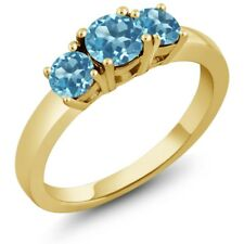 1.26 Ct Round Swiss Blue Topaz 925 Yellow Gold Plated Silver Ring