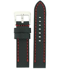 Watch Band Carbon Fiber Leather Black Red Stitching Extra thick Fits Panerai