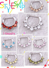 51% Discount Now --316L Surgical Steel Septum Clicker Nose Ring CZ 16 Gauge  B20