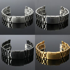Men Stainless Steel Band End Curved Bracelet Watch Strap Side Push Button Buckle