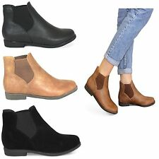 womens new ladies flat low block heel classic chelsea ankle boots shoes size 3-8