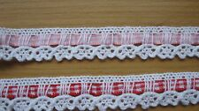 2 METRES WHITE COTTON LACE WITH GINGHAM RIBBON INSERT-15MM WIDE-TRIMMINGS