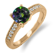 1.60 Ct Round Green Mystic Topaz White Sapphire 18K Rose Gold Plated Silver Ring