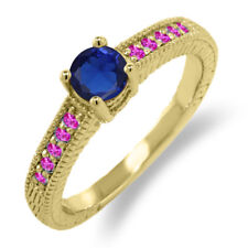 0.73 Ct Blue Simulated Sapphire Pink Sapphire 925 Yellow Gold Plated Silver Ring