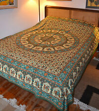 Ethnic Mandala print cotton double bed spread bedcover wall hanging throw India