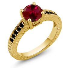 1.72 Ct Round Red Created Ruby Black Diamond 18K Yellow Gold Engagement Ring
