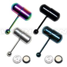 Jewelry Vibrating Tongue Bar Ring Stud Surgical steel Body Piercing+4 Batteries