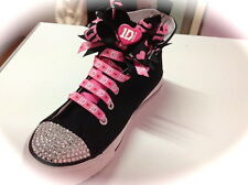 """ONE DIRECTION (1D) BLACK """"BLINGED"""" HI TOPS (SHOES)..COMPLETE WITH BOWS & LACES"""