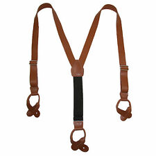 New CTM Mens Leather Button-End 1 Inch Suspenders