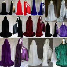 Stock Velvet silk Hooded Cloak Christmas Coat Wicca Robe Medieval Wedding Cape
