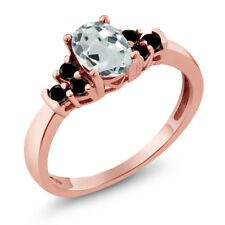 0.63 Ct Oval Sky Blue Aquamarine Black Diamond 925 Rose Gold Plated Silver Ring