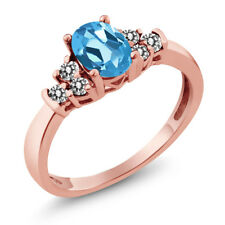 0.75 Ct Oval Swiss Blue Topaz White Diamond 925 Rose Gold Plated Silver Ring
