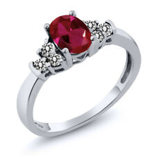 0.88 Ct Oval Red Created Ruby White Diamond 925 Sterling Silver Ring
