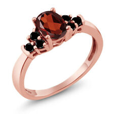 0.75 Ct Oval Red Garnet Black Diamond 925 Rose Gold Plated Silver Ring