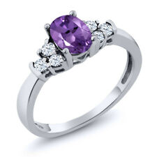 0.69 Ct Oval Purple Amethyst White Topaz 925 Sterling Silver Ring