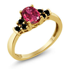 0.70 Ct Oval Pink Tourmaline Black Diamond 925 Yellow Gold Plated Silver Ring
