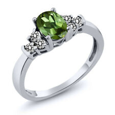0.60 Ct Oval Green Tourmaline White Diamond 14K White Gold Ring
