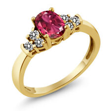 0.70 Ct Oval Pink Tourmaline White Diamond 925 Yellow Gold Plated Silver Ring
