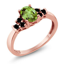 0.70 Ct Oval Green Peridot Black Diamond 925 Rose Gold Plated Silver Ring