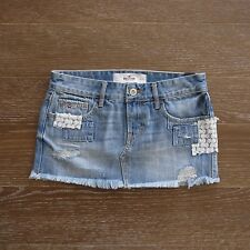 NWT HOLLISTER HCO Womens Destroyed Floral Lace Mini Denim Jeans Skirt
