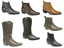 Mens Western Cowboy Boots, Tall, Ankle Or Harness Style Black, Brown Tan 6-12 UK