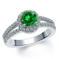 2.00 Ct Round Green Simulated Emerald White Created Sapphire 18K White Gold Ring