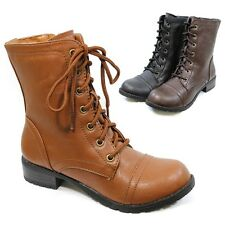 New Womens Fall Winter Boots Faux Leather Military Lace Up Army Low Heel Boots