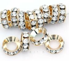 15Pcs Silver/Gold Clear Crystal Rhinestone Big Hole Copper Spacer Beads 13x5mm