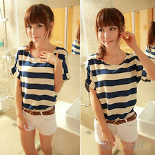LOVELY BATWING BLOUSE CHIFFON STRIPED SHORT SLEEVE LOOSE TOPS T-SHIRT STUNNING