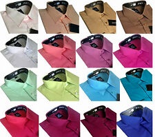 Mens Cotton Plain Everyday Value Shirt Classic collar Formal Casual Long Sleeve