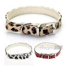 White/Gold/Red PU Leather Dog Pet Puppy Cat Collar Neck Leopard Print XS/S/M