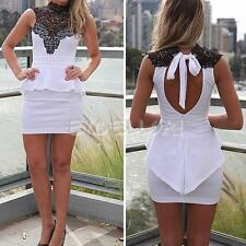 Sexy White Lace Sleeveless Clubwear Cocktail Party Bodycon Womens Mini Dress