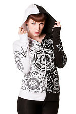 Pentagram Hoodie by Banned Occult Top Goth Emo Living Dead 10 12 14 Black White