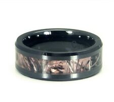Mens Camo Ring 8mm Black Wedding Fashion Band Luxury Red Neck Southern Boy