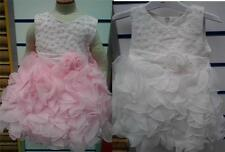Baby girls ivory pink christening wedding party dress 0-24months
