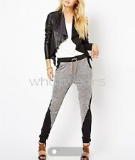 Women's Fashion Drawstring Black Grey Stitching Loose Casual Pants GBW