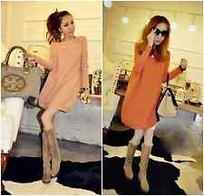 New Maternity Dresses A-Line Dress Boat Neck Long Sleeve Women Knit Long Tops