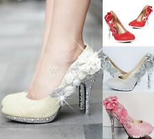 Women Sequin Gorgeous Wedding Bridal Party Crystal High Heels Shoes GBW