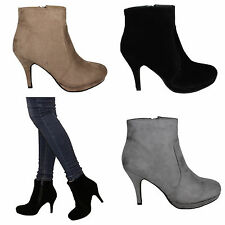 womens ladies new stiletto heel platform zip suede ankle boots shoes size UK 3-8
