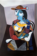 The Woman with Red Hat - Signed Pablo Picasso Repro Oil Painting on Canvas