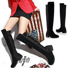 Women Lady Thigh High Flat Boot Wide LEG Calf Stretch Over Knee Shoes Size Black