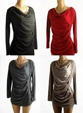 Sexy Cowl Neck Light Knit Sweater Dress Top Side Button Up with Long Sleeve