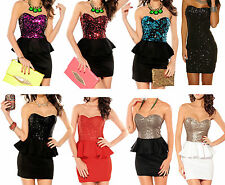 Sexy sequin peplum vintage cocktail party formal evening dress s m l size 6 - 14