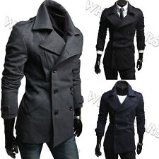 Stylish Mens Slim Fit Casual Double-breasted Top Designed Overcoat W2055 GBW