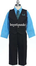 Boy's Black 4 Piece Suit Formal Dressy Vest Set Turquoise Dress Shirt All Sizes