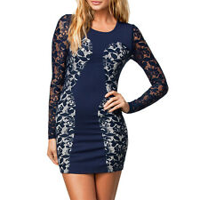 women fashion Sexy Navy Color Block Lace Vintage Dress LC21019 on sale