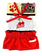 MED New Red White SWEET CHERRY 2 PIECE Pet Clothes Dog Shirt Dog Dress Costume