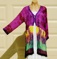 India Boutique Purple/Multi Shear Jacket / Cover Up - FREE SIZE, ONE SIZE, NWT