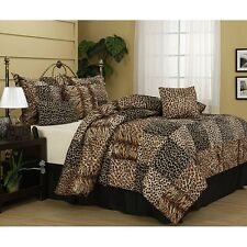 NEW Bed Bag Cal King Queen 7 pc Cheetah Animal Print Tiger Stripe Comforter Set