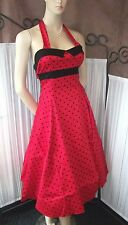 Retro 50s Style Cocktail Dress Red with Black Spots Halterneck Swing Dress